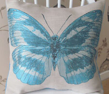 "Handmade Cushion Cover - Large turquoise blue butterfly panel - 16"" x 16"""
