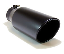 "GENSSI Muffler Tip Exhaust Tail Pipe Black (ID: 4"" OD: 6"" L: 15"" Bolt-on Slant"