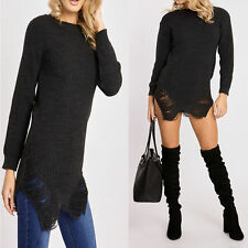 Womens Oversize Ripped Cold Shoulder Long Jumper Distressed Knitted Jum