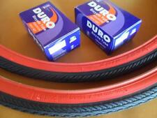 *New 700x35c Pair of Red Wall Tires + Tubes Road Fixie Bike Black and Red 700c