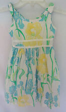 Lilly Pulitzer Girls 4 Blooming Irises White Blue Yellow Floral Sleeveless Dress