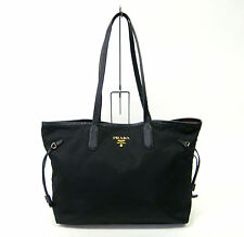 Authentic PRADA Gold Logo Nylon Leather Hand Shoulder Tote Bag Black 883