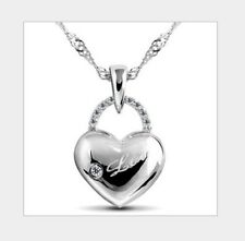 2015 Sterling Silver Love Heart Cubic Zirconia Pendant Necklace w Chain Box A1
