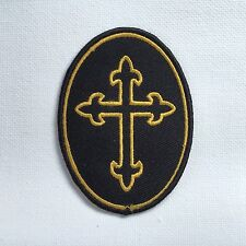 Iron On/ Sew On Embroidered Patch Badge Cross Holy Cross Church Faith Oval