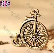 VICTORIAN BICYCLE pendant NECKLACE crystal RHINESTONE vintage brass STEAMPUNK