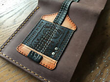 Michael Anthoy Jack Daniels Leather Mens Bass Guitar Wallet w/Guitar Pick Holder