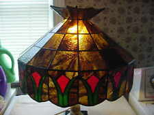 Vintage Stained Glass Lamp Light Shade Only Brown Red Green Flowers Heavy 18 1/2