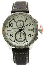 New Nautica Chronograph Brown Leather Band Date Men Watch 45mm N19577G $195