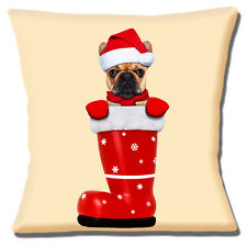 "FAWN FRENCH BULLDOG SANTA HAT CHRISTMAS BOOT ON  CREAM 16"" Pillow Cushion Cover"