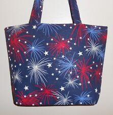 Handmade 4th of July Patriotic Stars and Fireworks Bag Purse