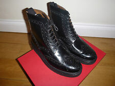 BNIB Grenson Fred Vibram Sole Brogue Boots 5068/11VB Triple Black UK9 US10