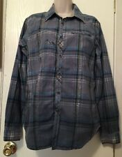 Guess Button Down Shirt Blue Plaid Long Sleeve Sexy Casual Top - XS