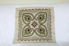 Vintage Cream Crewel Hand Embroidered Linen Cushion Cover Panel Floral Green