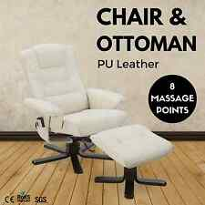 8 Point Massage Chair Ottoman PU Leather Lounge Recliner Couch Armchair CREAM