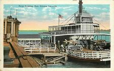 Vintage Postcard Ferry Crossing New Orleans LA Cars and Dock Mississippi River