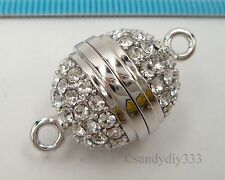 1x RHODIUM plated STERLING SILVER Swarovski CRYSTAL SNAP BUTTON BALL CLASP #2370