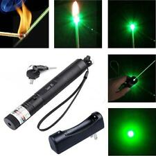 Green Laser Pointer Pen 5mW 532nm Burning Lazer Zoomable Visible Beam+Charger TL