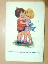 1939 Comic Postcard- WHERE TWO HEADS ARE BETTER THAN ONE! + Stamp