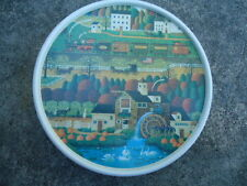 Americana Scene on a Tin with Dark Green Sides 6 ½ Inches Diameter X 2 Inches De