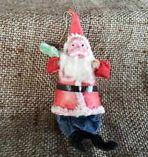 Vintage Composition Santa,Cotton Batting Beard Paper Clothes Ornament Decoration