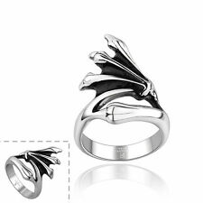 Men's Unisex Stainless Steel Ring Plain Dragon Hand Wings Size 10 L65