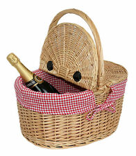 WICKER PICNIC BASKET WITH RED GINGHAM INNER LINER PICNICS DOROTHY DRESS UP