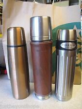 3 Starbucks Stainless Steel Thermal Bottles, Copper Bullet, Leather Wrap + 04 SS