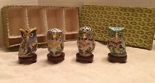 Chinese Cloisonne Owls Set of 4 Each With Wooden Stand-Smithsonian-In Orig. Box
