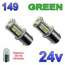 2 x led verte 24V BA15S 149 R5W 13 smd AMPOULES intérieur plaque minéralogique camion poids lourds