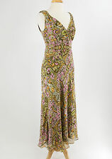 CYNTHIA HOWIE Brown Pink Green Orange White Floral Silk Dress Size 8