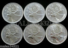 1989 TO 1996 CARIBOU 25-CENTS SET UNC (6 COINS) (NO 1991 0R 1992)