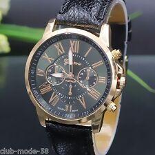 Superbe montre Quartz Geneve pour Femme Bracelet noir Neuve PROMO