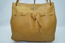 Vintage Rare Bonnie Cashin Tan Distressed Leather Turnlock Drawstring Tote Bag