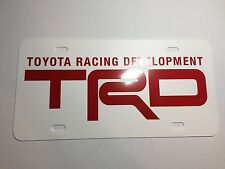 White Red TRD Toyota Racing Development Plastic License Plate Tag Vanity