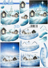 Christmas Snow Scenes 3D Decoupage Sheet Card Making Paper Crafts CUTTING REQ