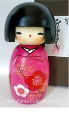 """Japanese Wooden Kokeshi Doll """"Ume"""" Flower Yukata Ornament/ 5"""" L /Made in Japan"""