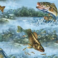 So Many Fish cotton fabric Quilting Treasures Bass Trout Brem Cat Fish Swimming