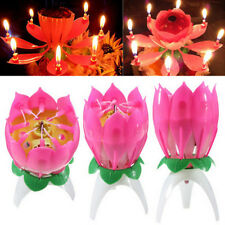 New Amazing Flower Lotus Lights Music Musical Birthday Candle Cake Topper Decor