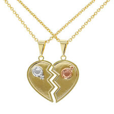 18k Gold Plated His and Her Couple Heart Love Pendant Necklace 19""