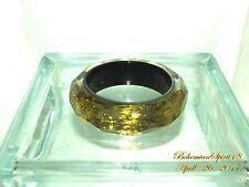 VINTAGE STYLE GOLD FOIL DIAMOND CUT CLEAR PLASTIC LUCITE BANGLE BRACELET