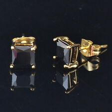 Gorgeous Women's Black sapphire Gems 14k Gold Filled Earring stud Jewelry