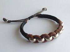 MEN'S Natural Brown Leather Braided Silver Beaded Shamballa Jewelry Bracelet