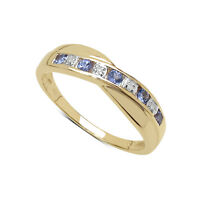 9CT GOLD TANZANITE & DIAMOND CHANNEL SET ETERNITY RING SIZE K-V ANNIVERSARY