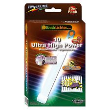 10 UltraHighPower Emergency Glow Sticks COLD WHITE, up to 45min. Extremely Brigh