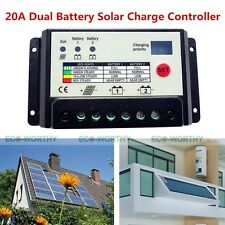 20A Auto Switch 12V/24V PWM Dual battery Solar Panel Charge Controller Regulator