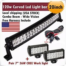 """20 inch Curved Led Light Bar Combo + 7"""" CREE Work Pods Flood Offroad SUV ATV 4WD"""