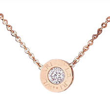 Jewelry diamond Stainless Steel Rose Gold Necklace Short Chain For Women SH