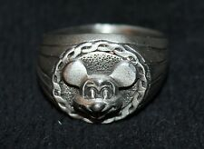 RARE VINTAGE DISNEY MICKEY MOUSE PEWTER  RING SIZE 8 NOS