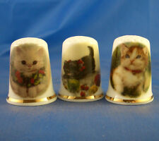 Birchcroft Thimbles -- Set of Three -- Christmas Cats