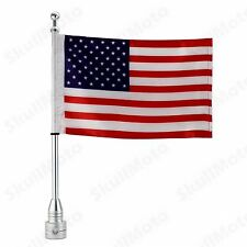 Custom Motorcycle Silver Rear Side Mount Flag Pole with USA Flag For Harley